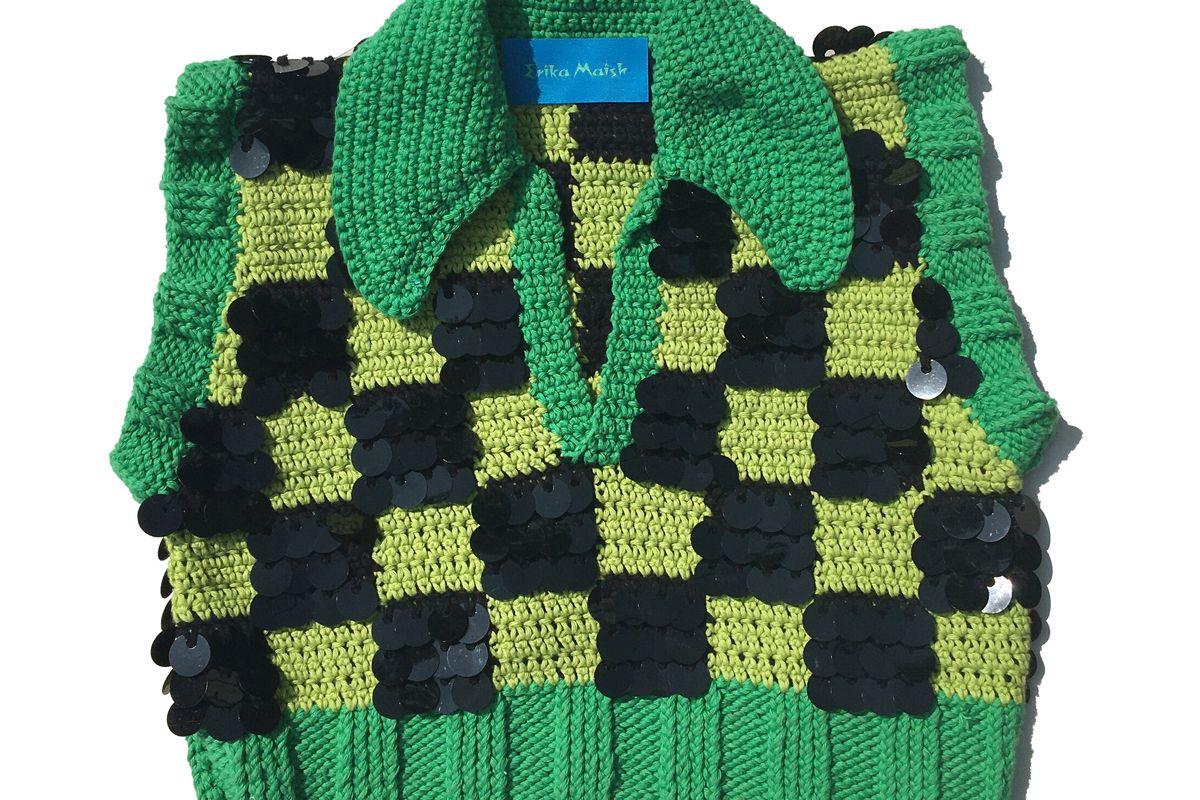 erika maish sequin checker sweater vest