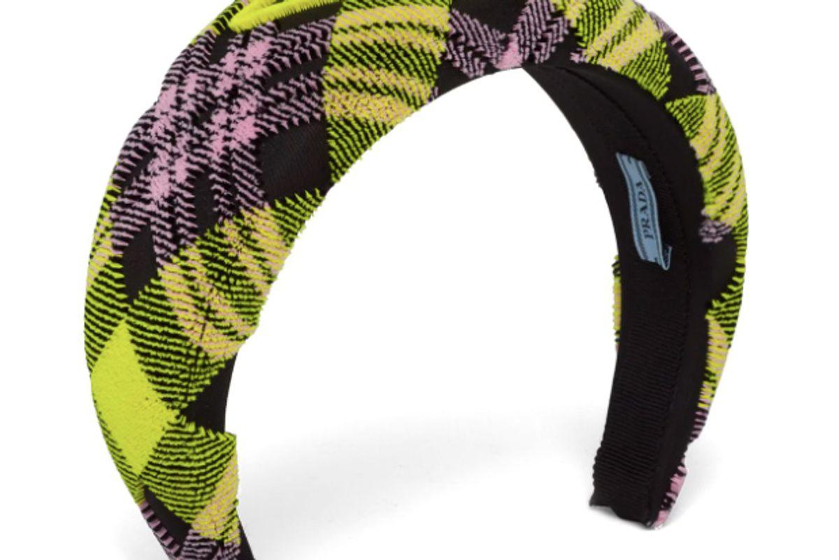 prada plaid logo headband