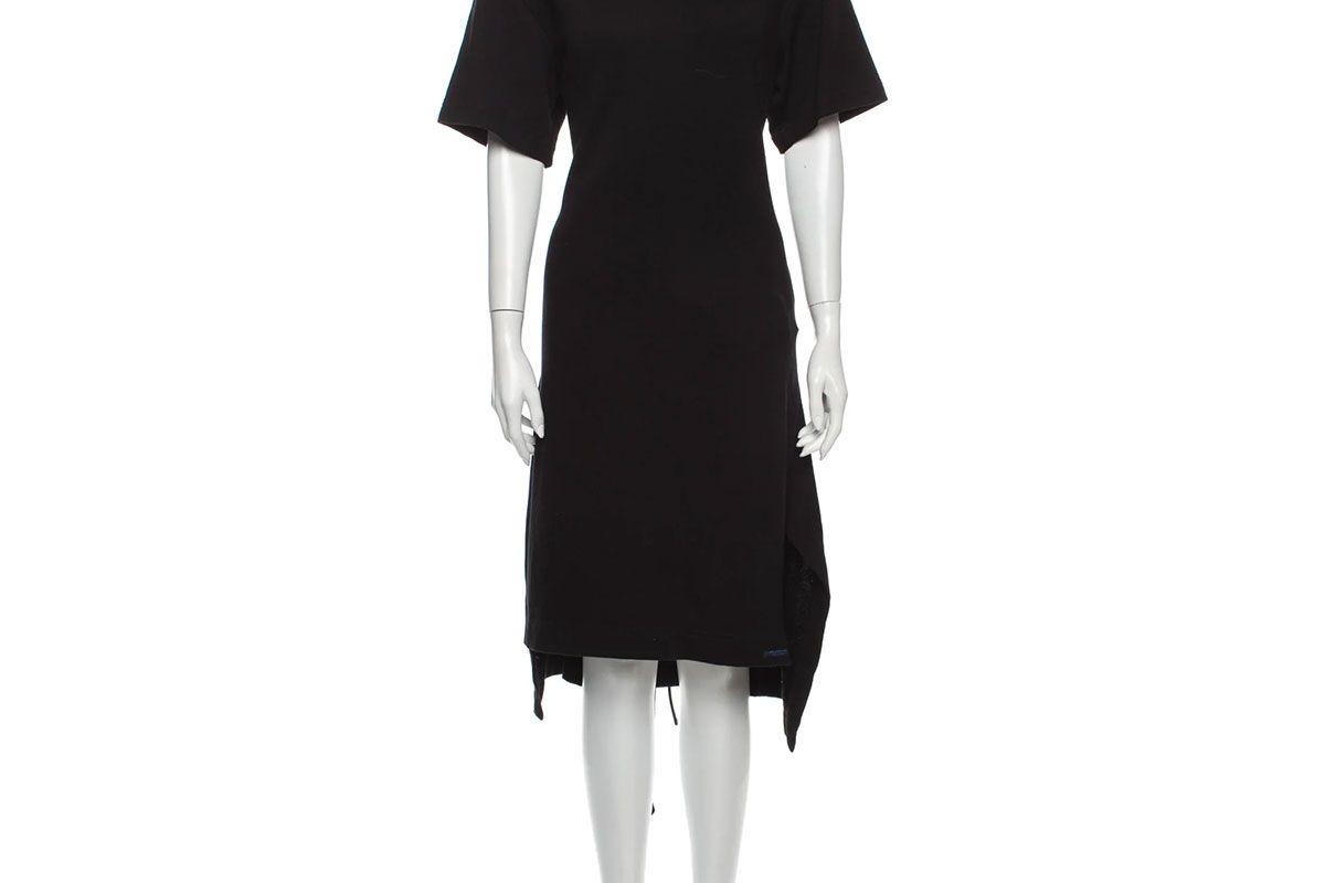 yohji yamamoto regulation crew neck midi length dress