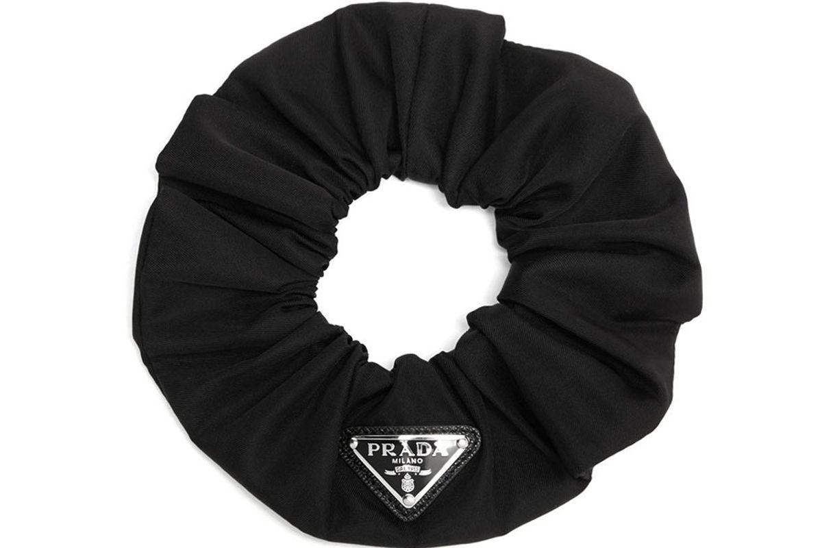 prada logo detailed nylon hair scrunchie