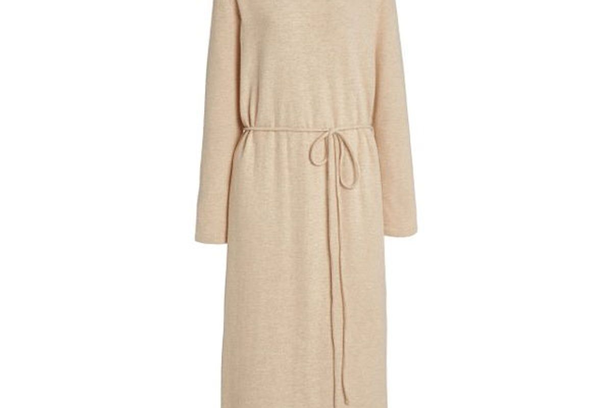 vince belted cotton blend midi sweater dress shop