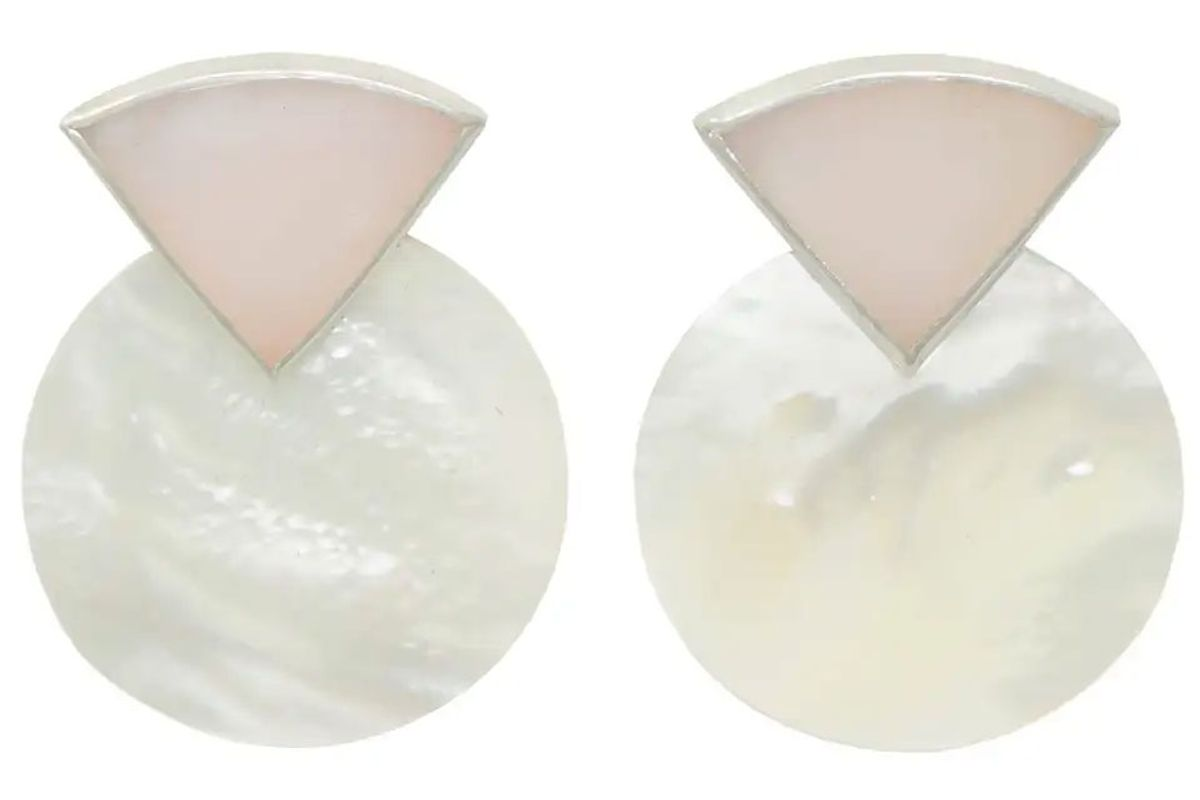 octave jewelry sterling silver sunrise earring in pink opal and mother of pearl