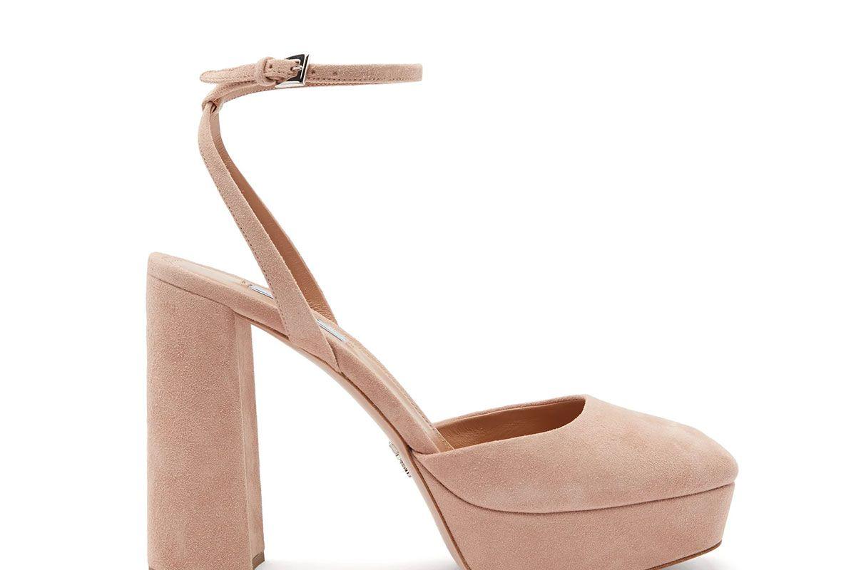 prada square toe suede platform shoes