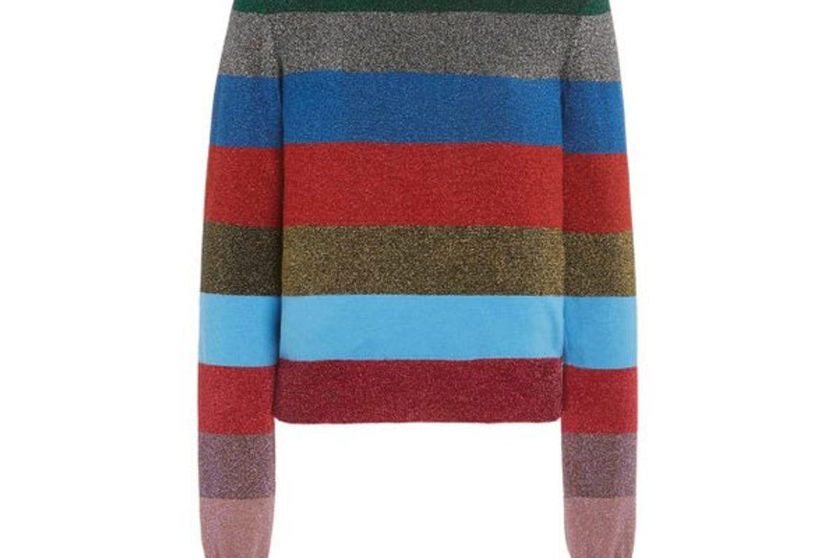 victoria beckham striped metallic cotton blend knit