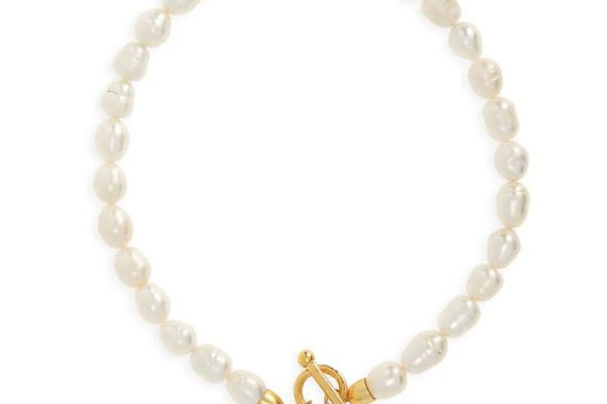 karine sultan pearl and bee charm necklace