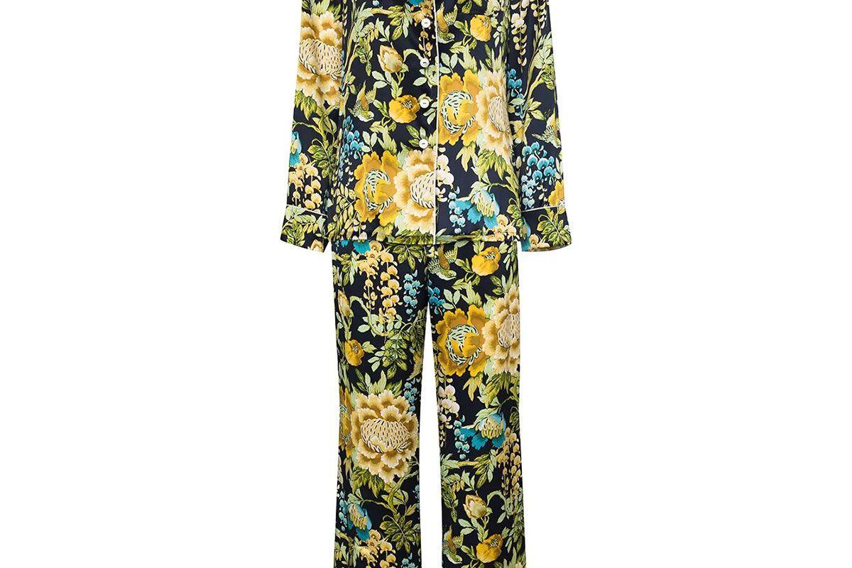 olivia von halle lila floral print silk pyjamas