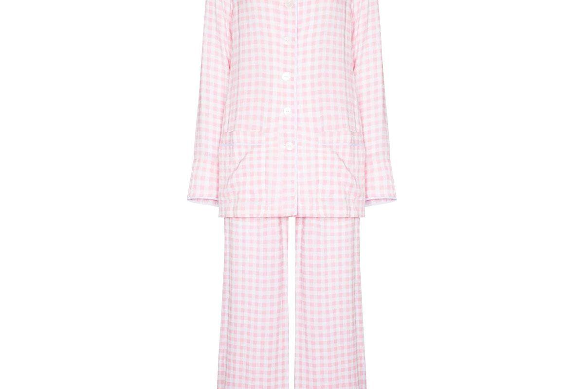 sleeper feather trim gingham pajama set