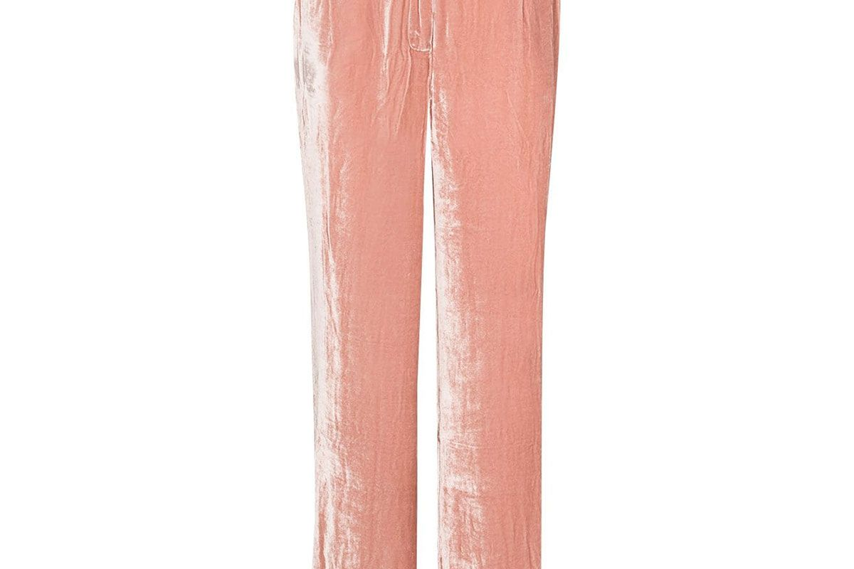 sleeping with jacques high shine velvet effect trousers