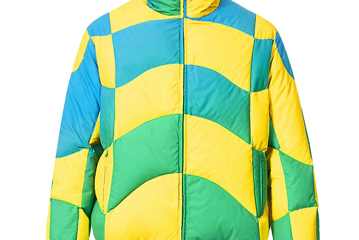 erl checked high neck shell down jacket