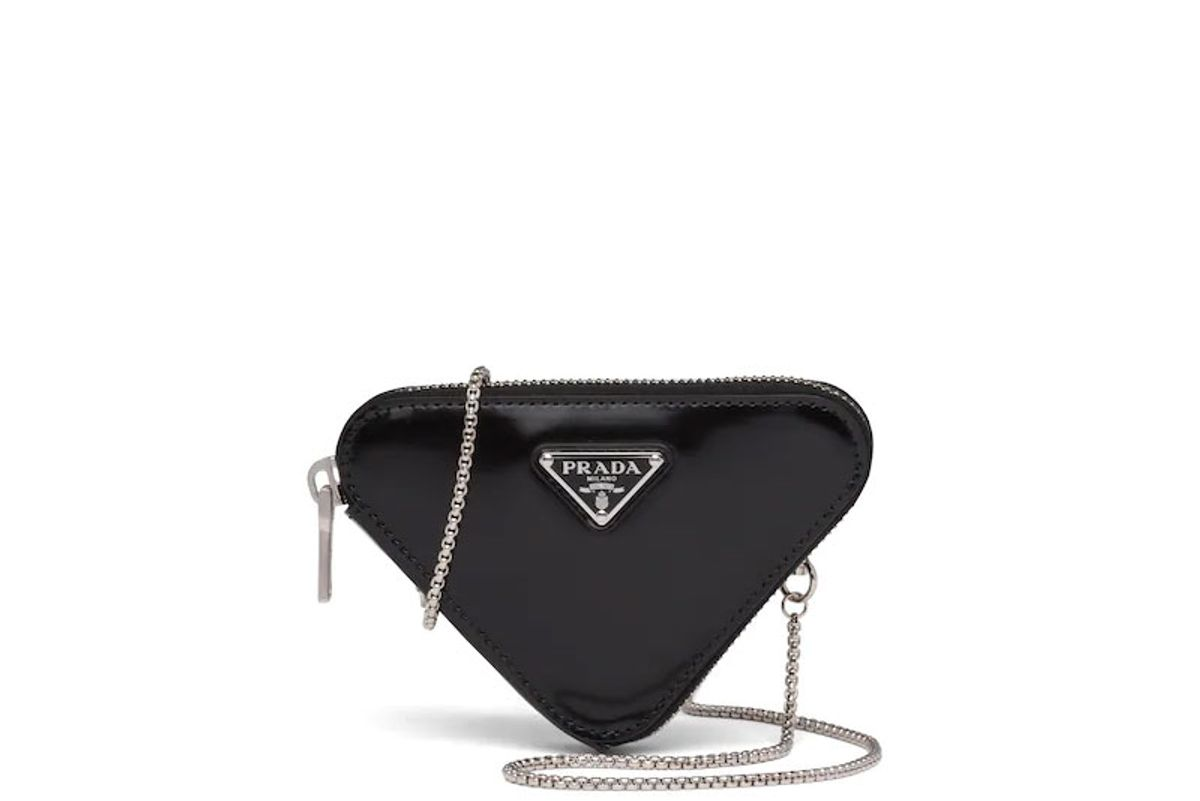 prada brushed leather mini pouch
