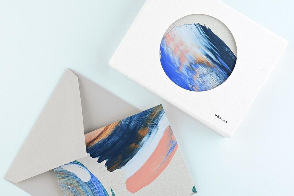 moglea geode hand painted folded note cards boxed