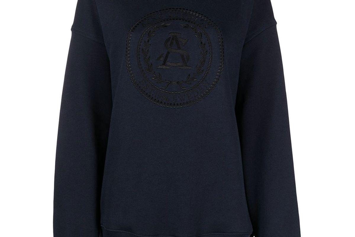 acne studios wreath logo embroidered sweatshirt