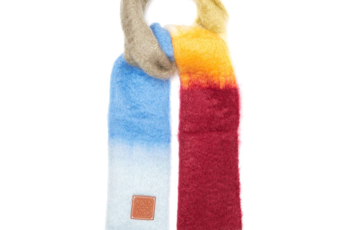 loewe striped brushed mohair and wool scarf