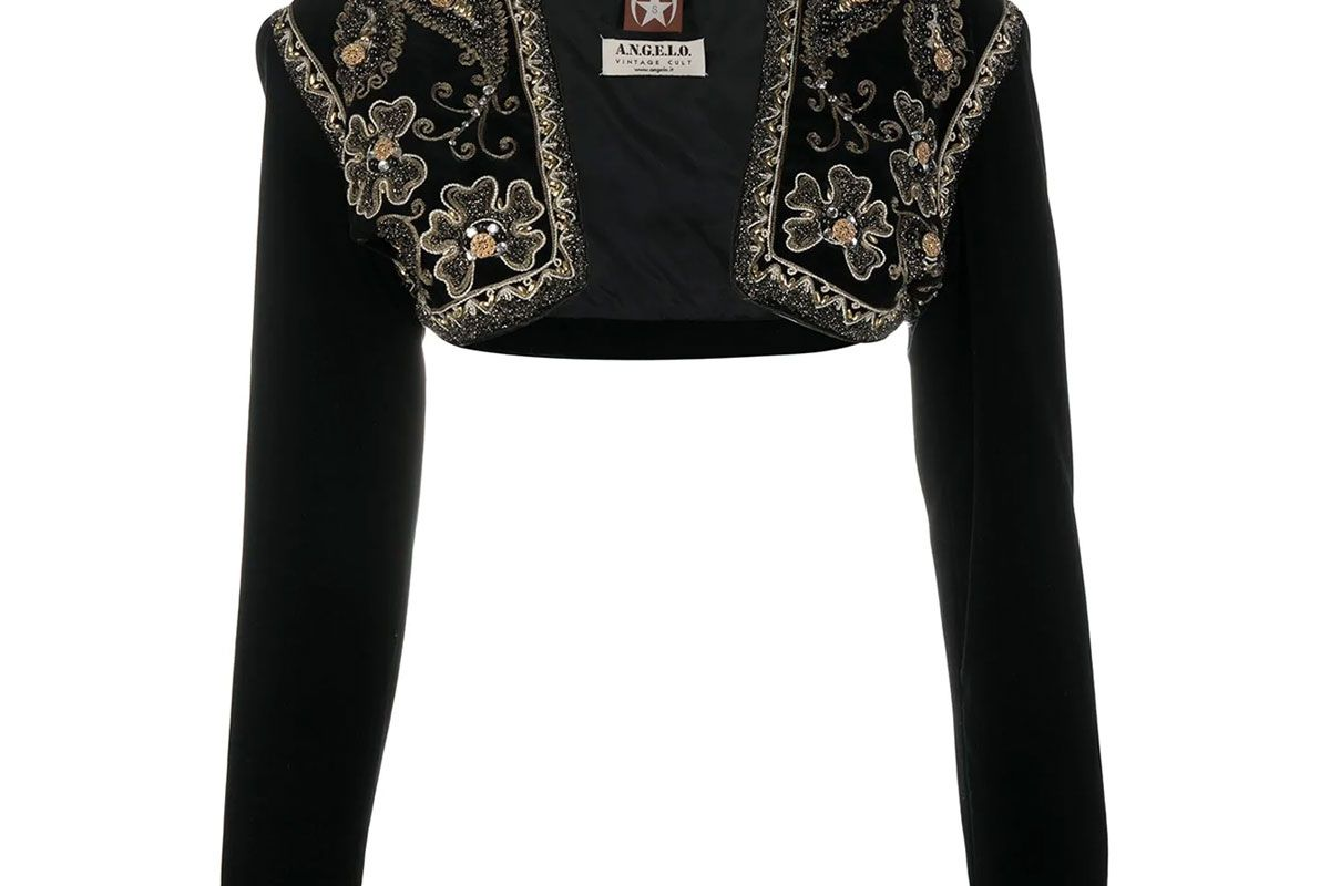 angelo vintage cult 1990s bead embroidered velvet effect bolero