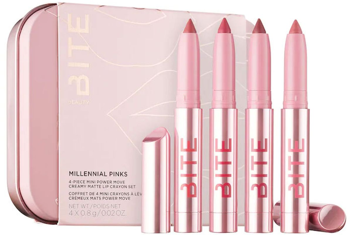bite beauty millennial pinks 4 piece mini power move creamy matte lip crayon set