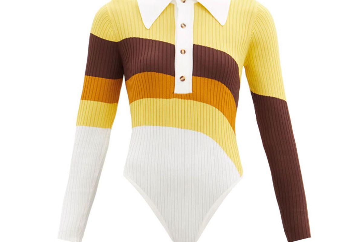 dodo bar or hera striped ribbed knit bodysuit