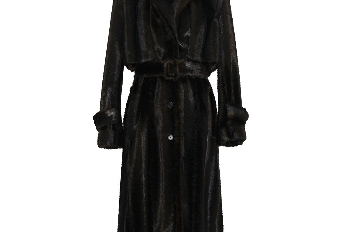 commission faux mink blazer trench coat