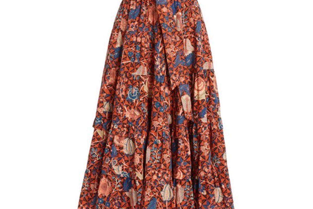 ulla johnson sigrid floral cotton midi skirt