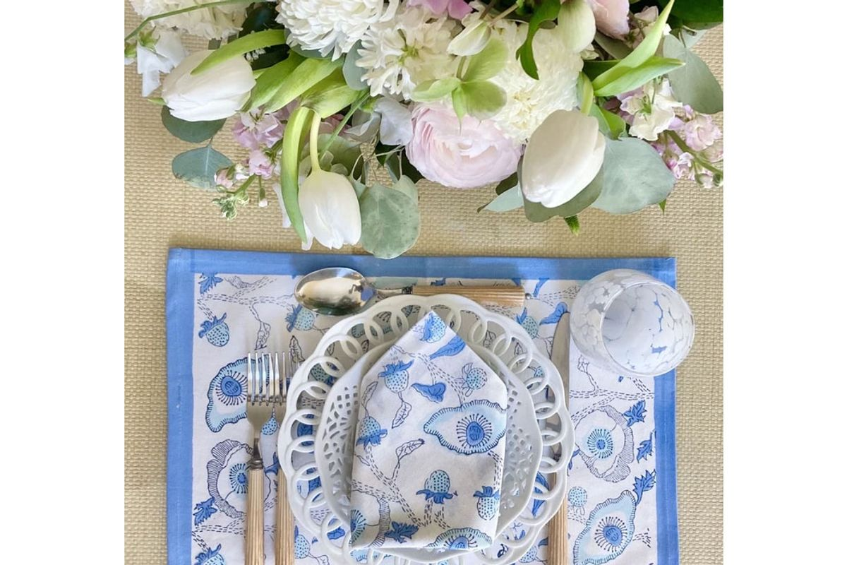 india armory lapis buttercup placemats set with dinner napkins