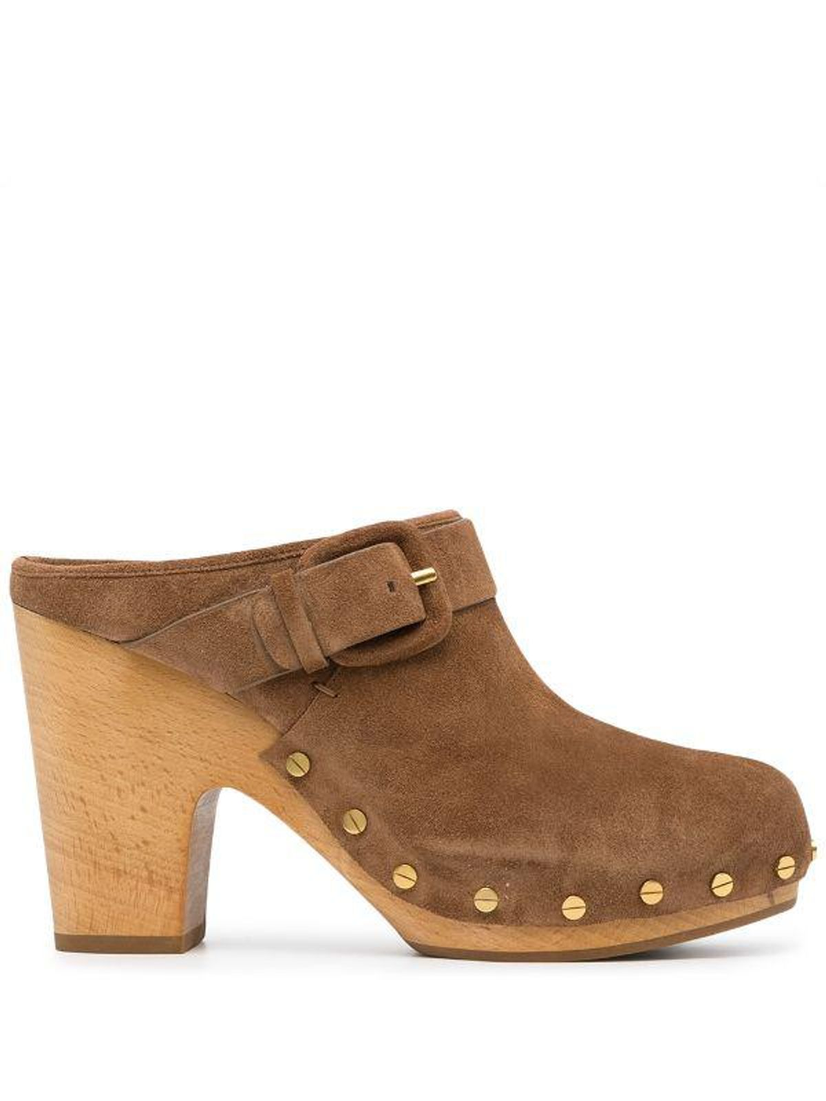 Buckle Detail Heeled Clogs