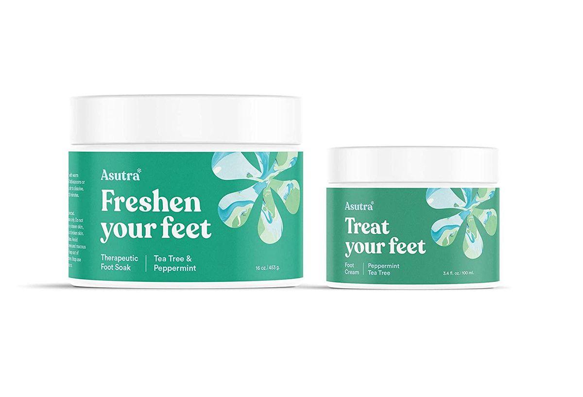 asutra therapeutic foot soak and moisturizing foot cream bundle