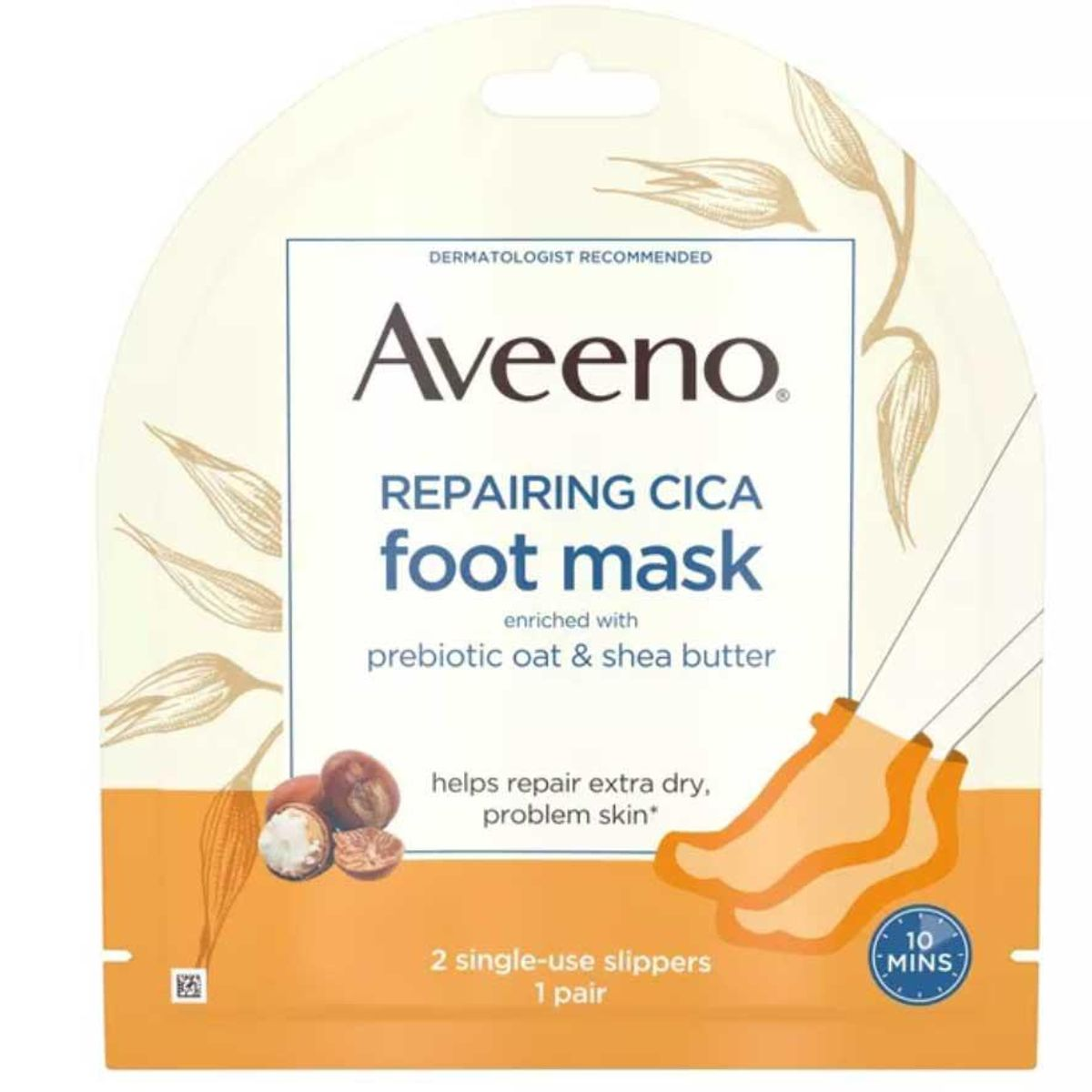 aveeno repairing cica foot mask with oat and shea butter
