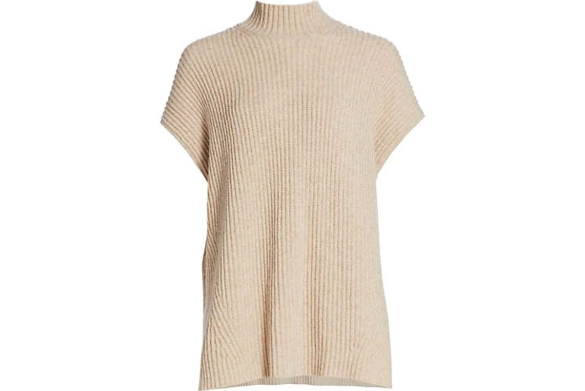 ganni rib knit cap sleeve sweater