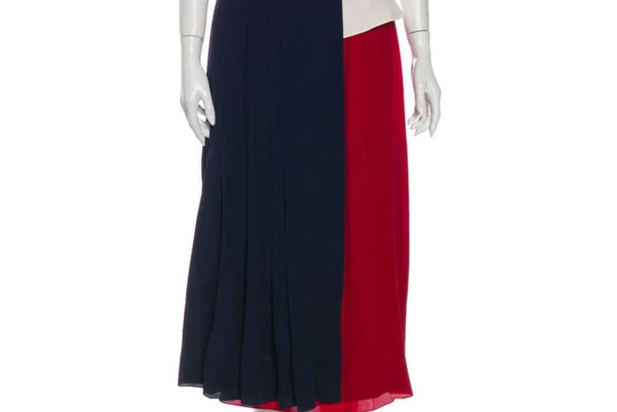 rokh colorblock pattern midi length skirt