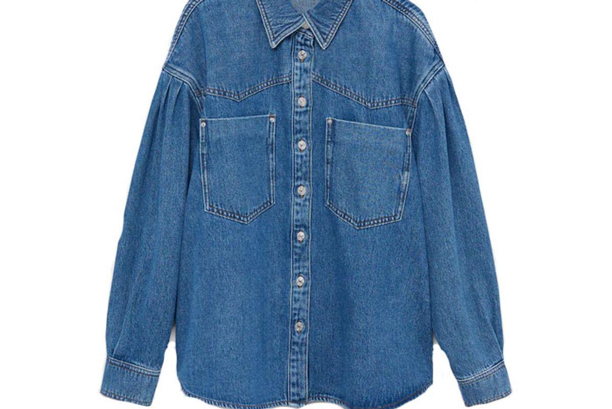 mango chest pocket cotton overshirt