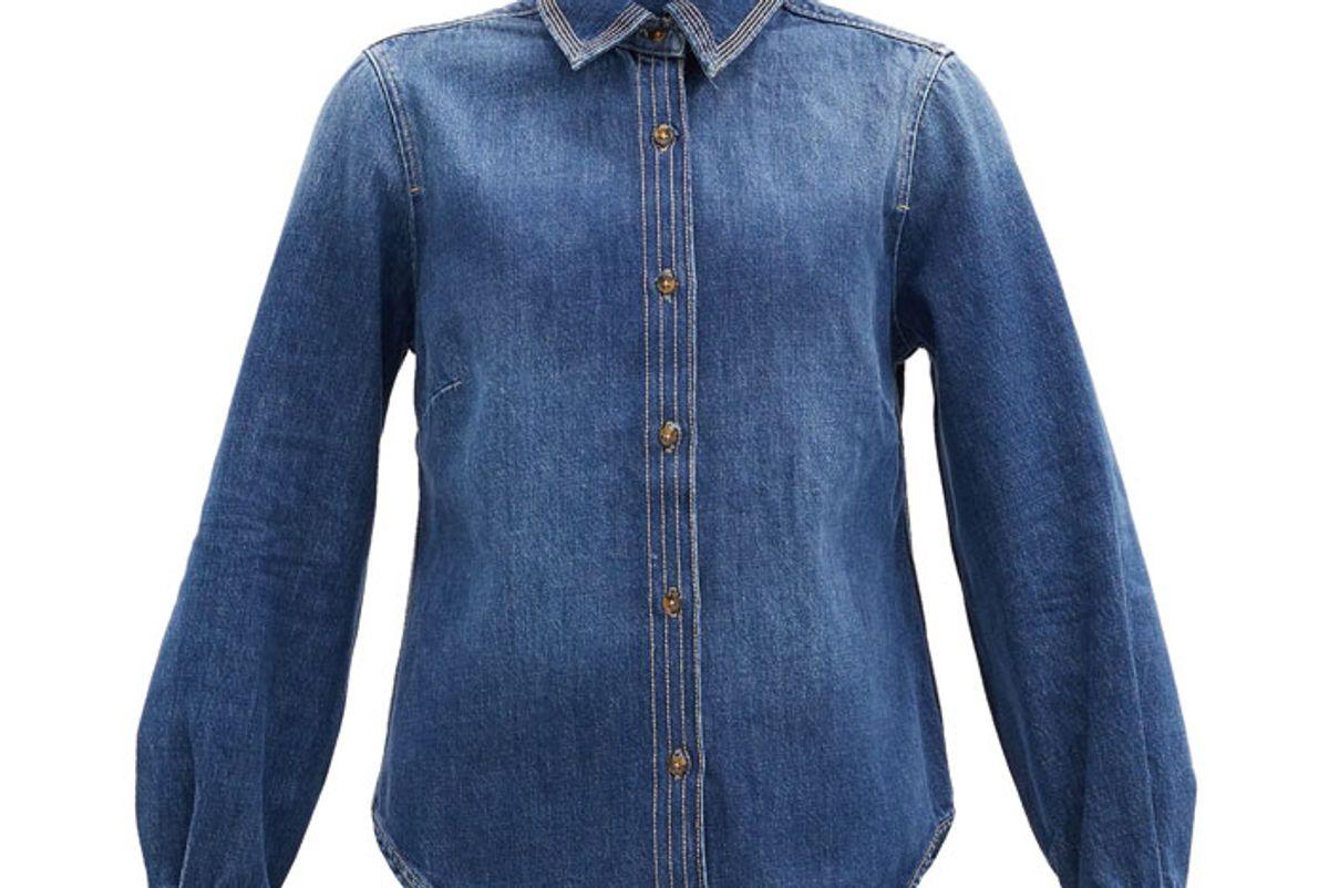 frame trapunto topstitched denim shirt