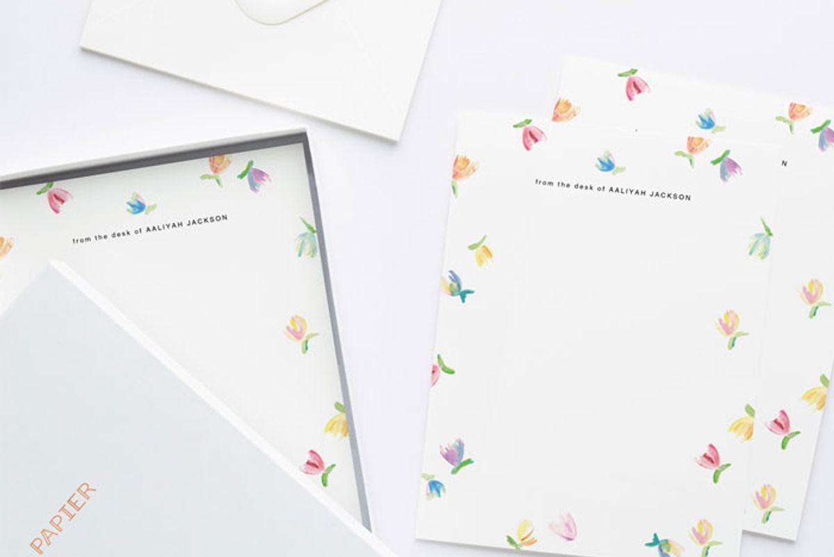 rosie assoulin x papier rainbow tulip writing paper set