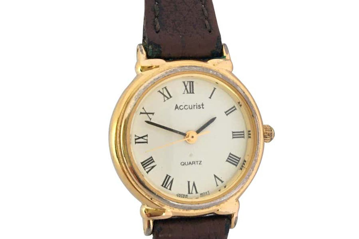 accurist vintage gold plated and stainless steel back quartz watch