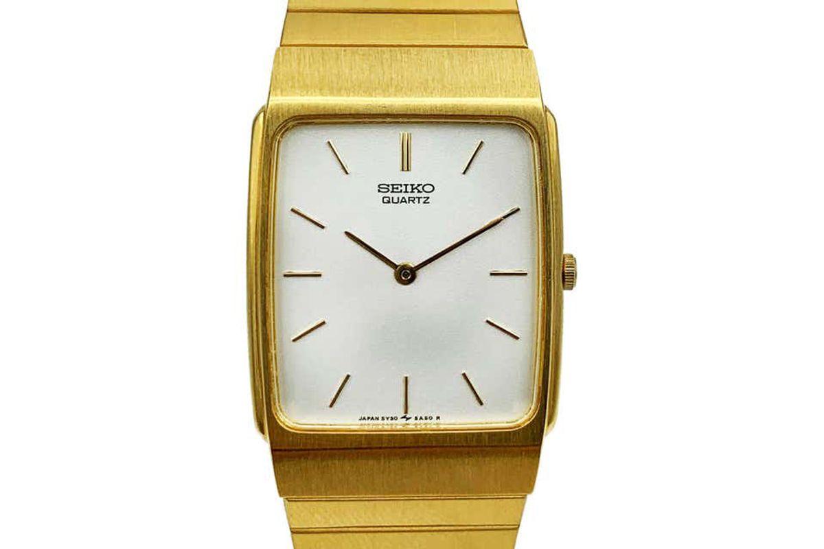 seiko gold tone stainless steel quartz unisex watch