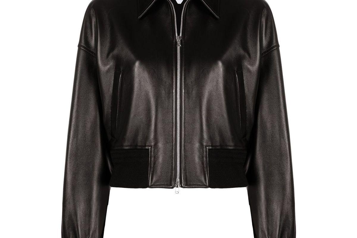 bottega veneta leather bomber style jacket
