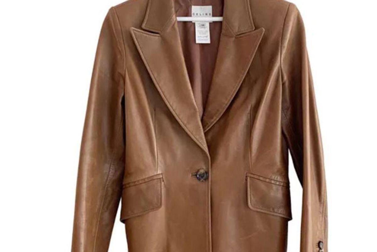 celine leather biker jacket
