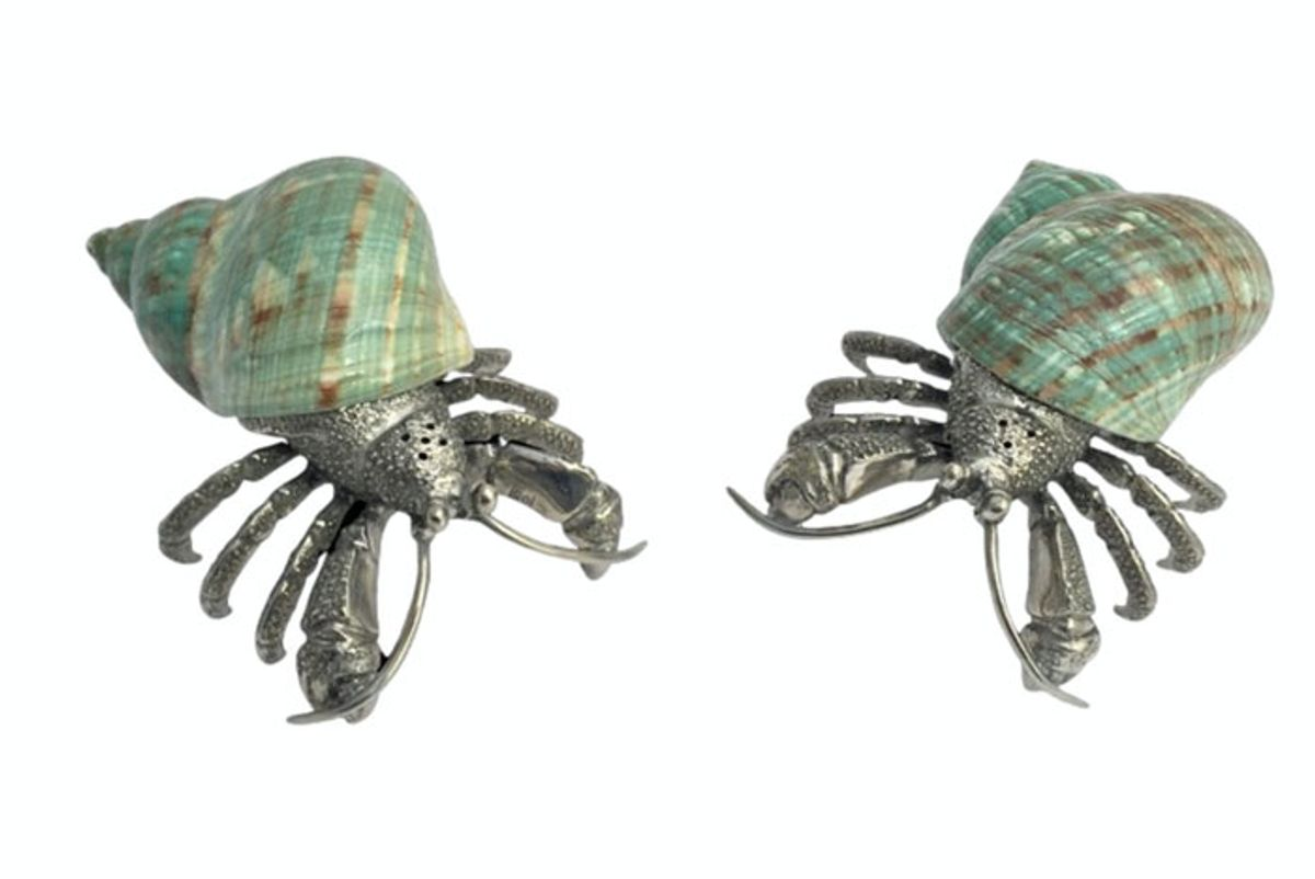 mary mahoney pewter hermit crab salt pepper shaker