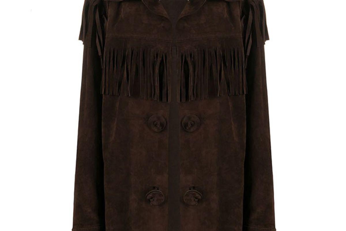 maison margiela oversized fringed buttoned jacket