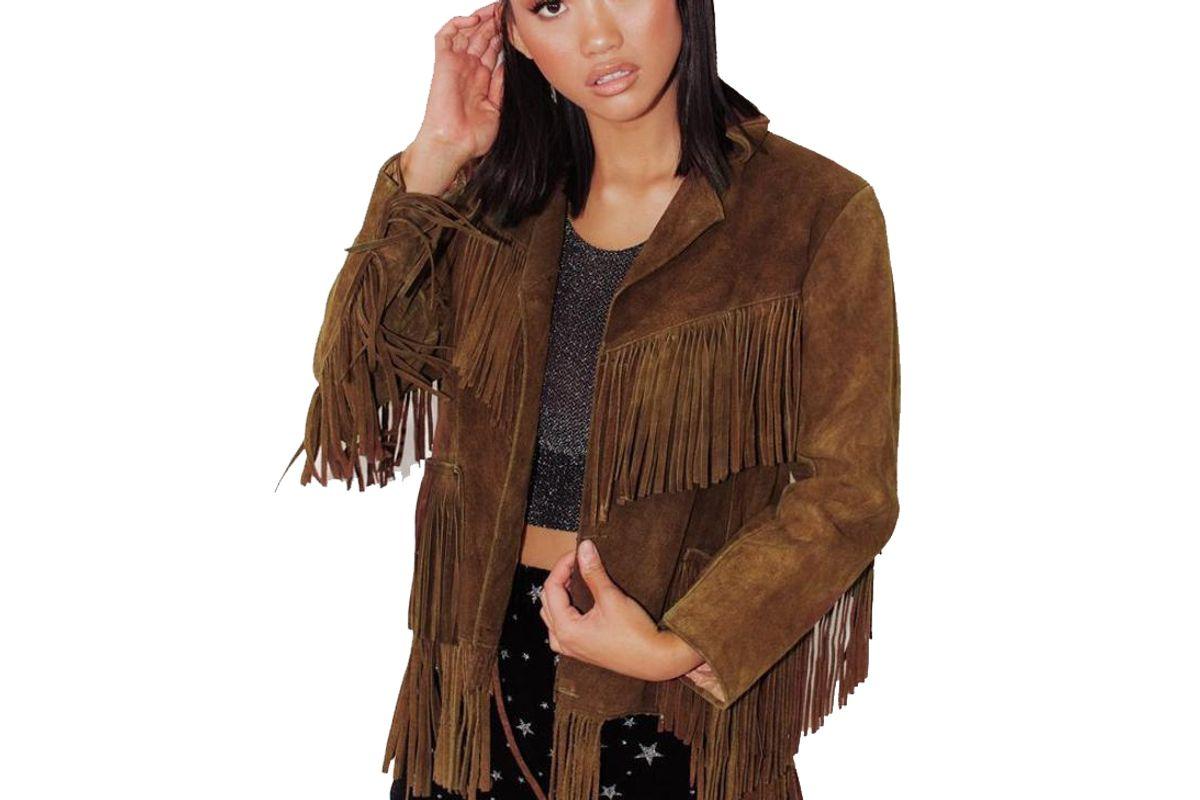 prague leather co vintage fringed suede leather jacket
