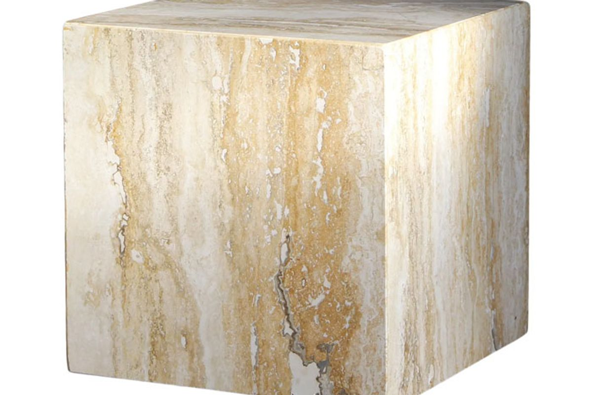 1980s travertine marble cube side table