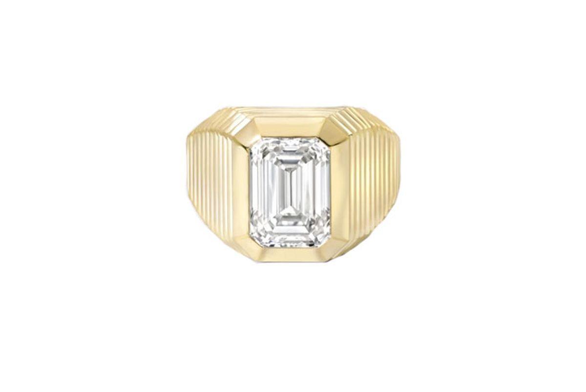retrouvai diamond pleated solitaire ring