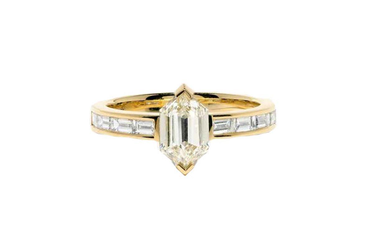 azlee hexagon diamond deco engagement ring
