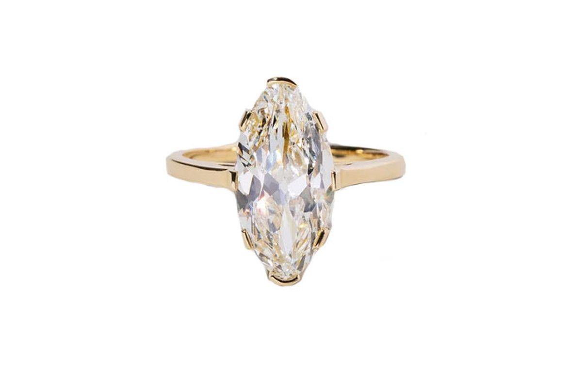 mociun north south navette diamond solitaire ring