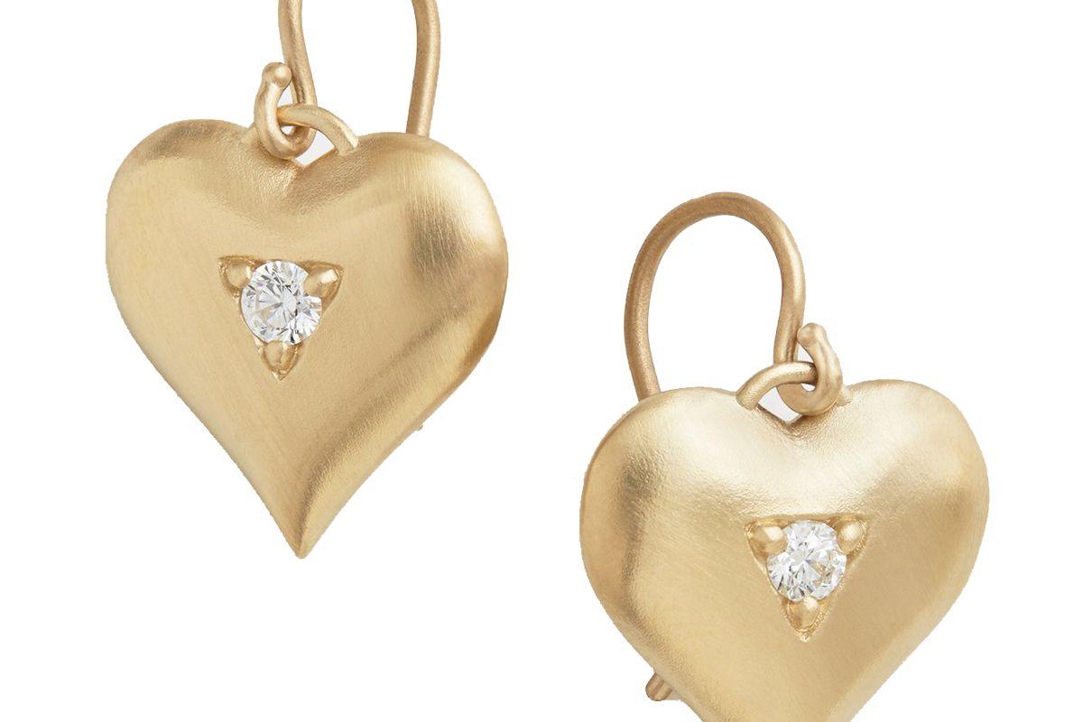 jamie wolf heart drop earring with diamonds