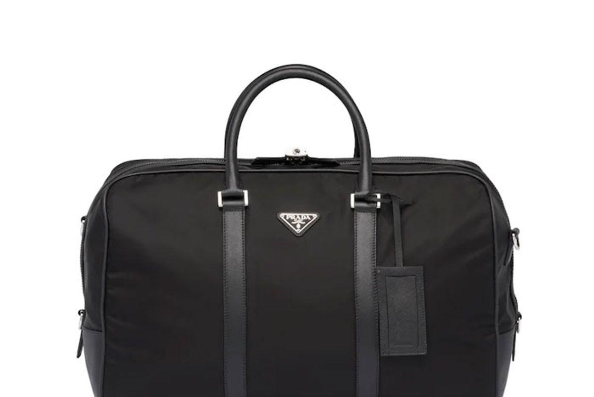 prada nylon and saffiano leather duffle bag