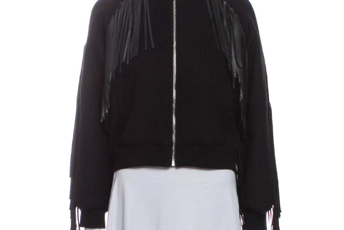 maje fringe bomber jacket