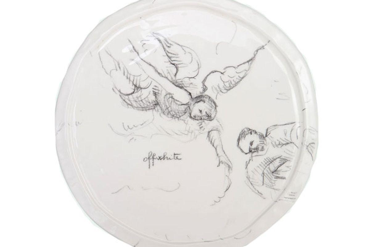 off white art print ceramic plate