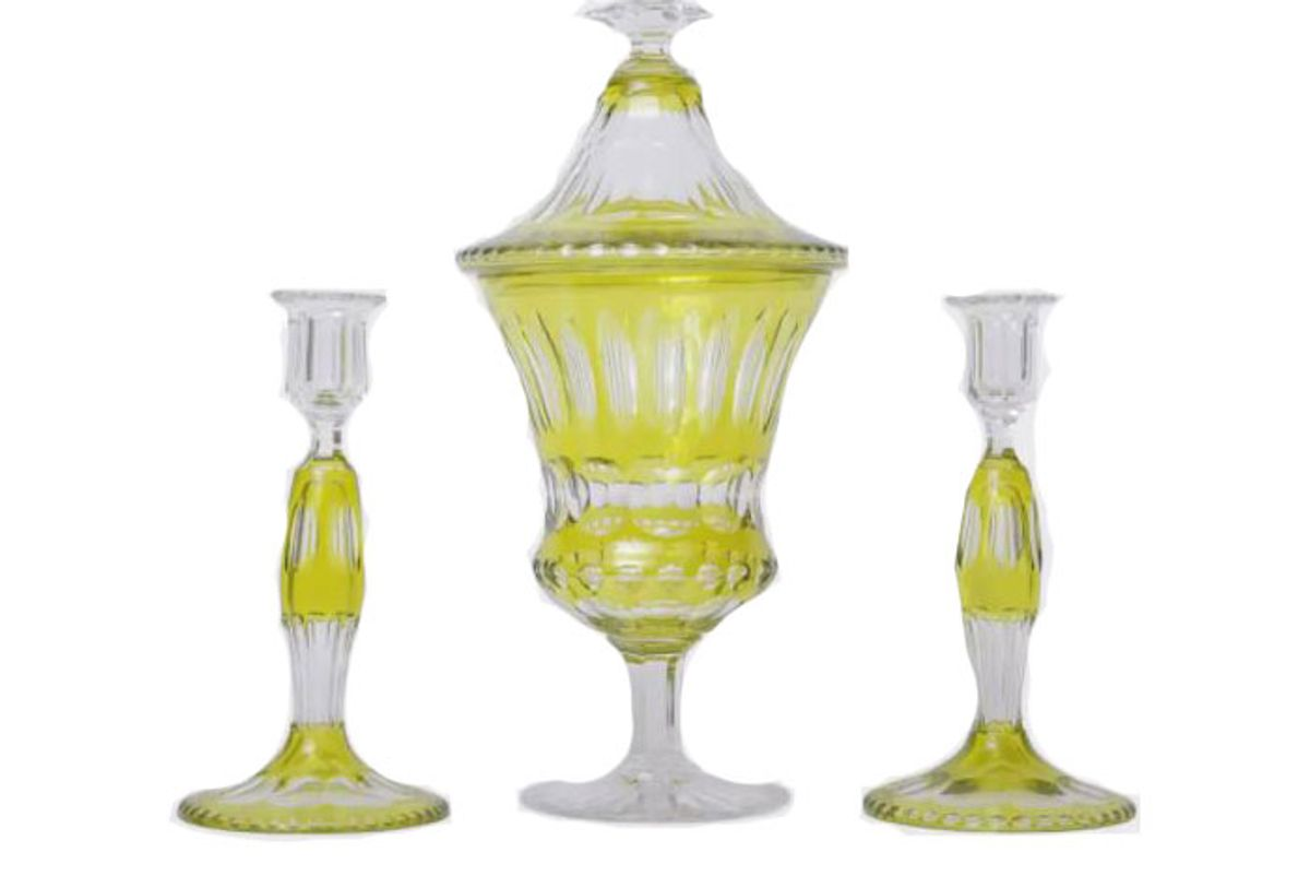 devonia antiques chartreuse green antique candlesticks centerpiece top set