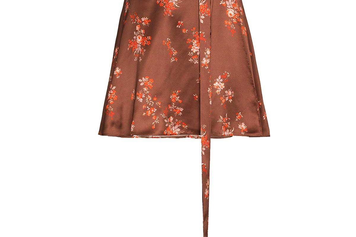 reformation simi silk floral mini skirt