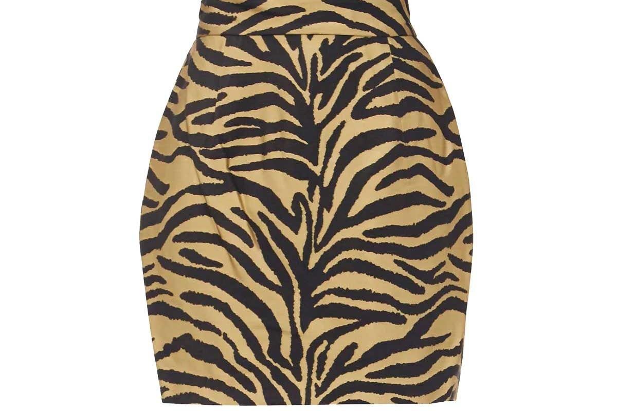 khaite eiko high rise waist zebra print twill mini skirt