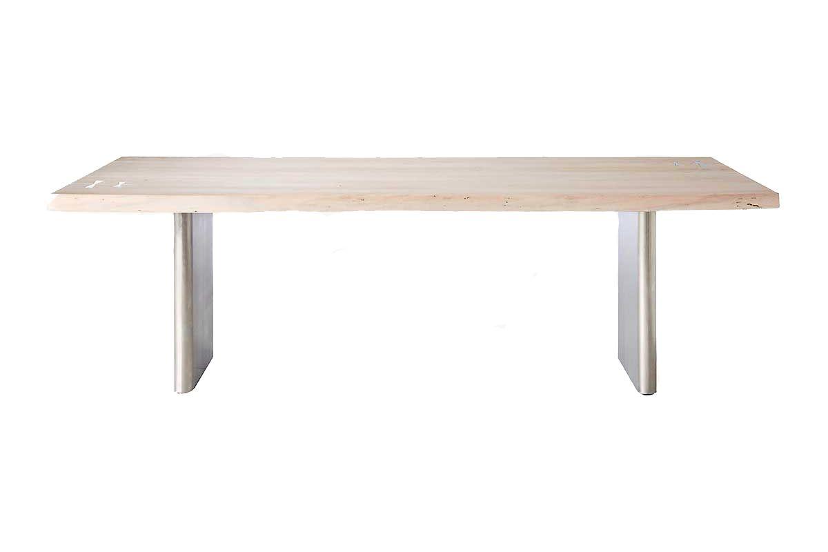 cb2 landscape live edge white washed wood dining table